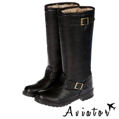 Aviator*韓國空運-PAPERPLANES正韓製個性皮革毛毛釦帶長筒靴-黑