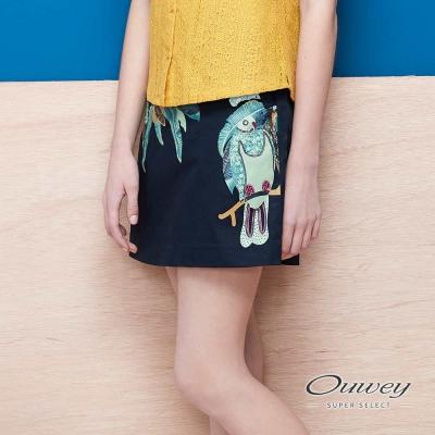 OUWEY歐薇 熱帶島嶼風膠印A字裙(藍)