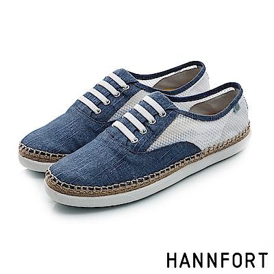 HANNFORT CALIFORNIA輕透網布草編休閒鞋-女-深海藍