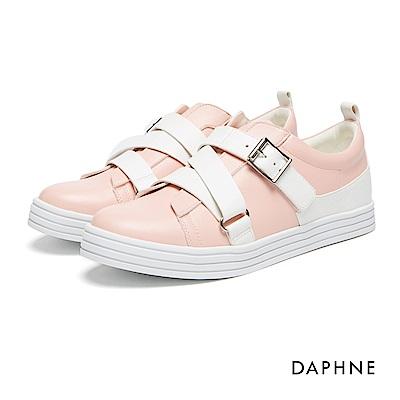 達芙妮DAPHNE 休閒鞋-交叉皮帶釦飾魔鬼氈休閒鞋-粉紅
