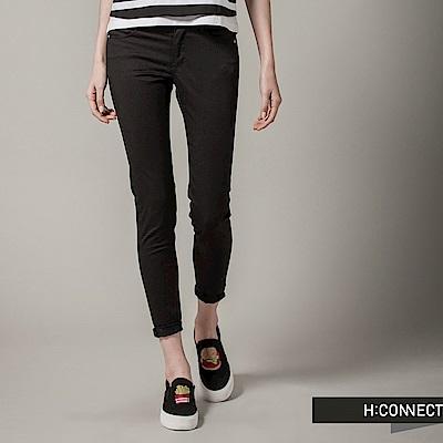 H:CONNECT 韓國品牌女裝-經典純色素面修身長褲-黑(快)