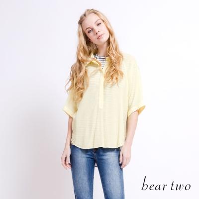 beartwo 微透撞色拼接連袖襯衫(三色)-動態show