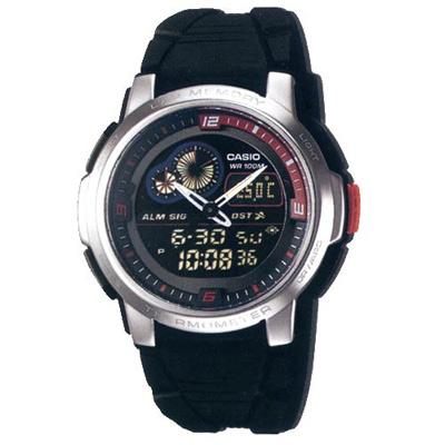 CASIO 測溫雙顯休閒錶(AQF-102W-1B)-黑/43mm