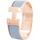 HERMES Clic Clac H PM 經典LOGO設計手環(水藍x玫瑰金)