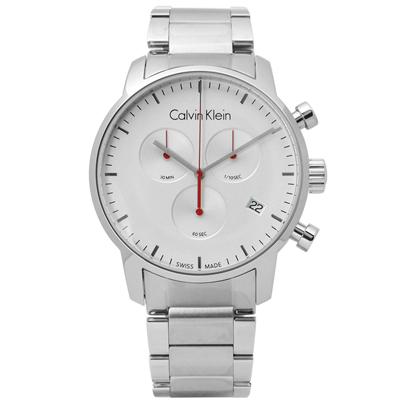 CK  經典極簡有型三環計時不鏽鋼手錶-銀色 /43mm