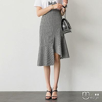 格紋中長款不規則下擺魚尾裙-mini嚴選