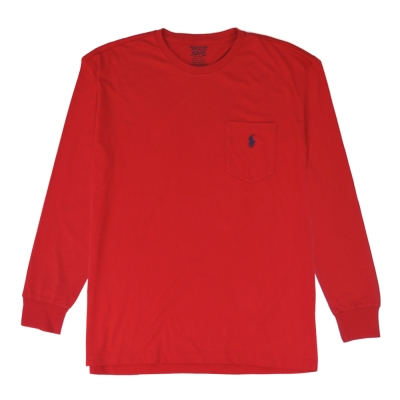 Ralph Lauren 小馬口袋長袖圓領男T(紅)