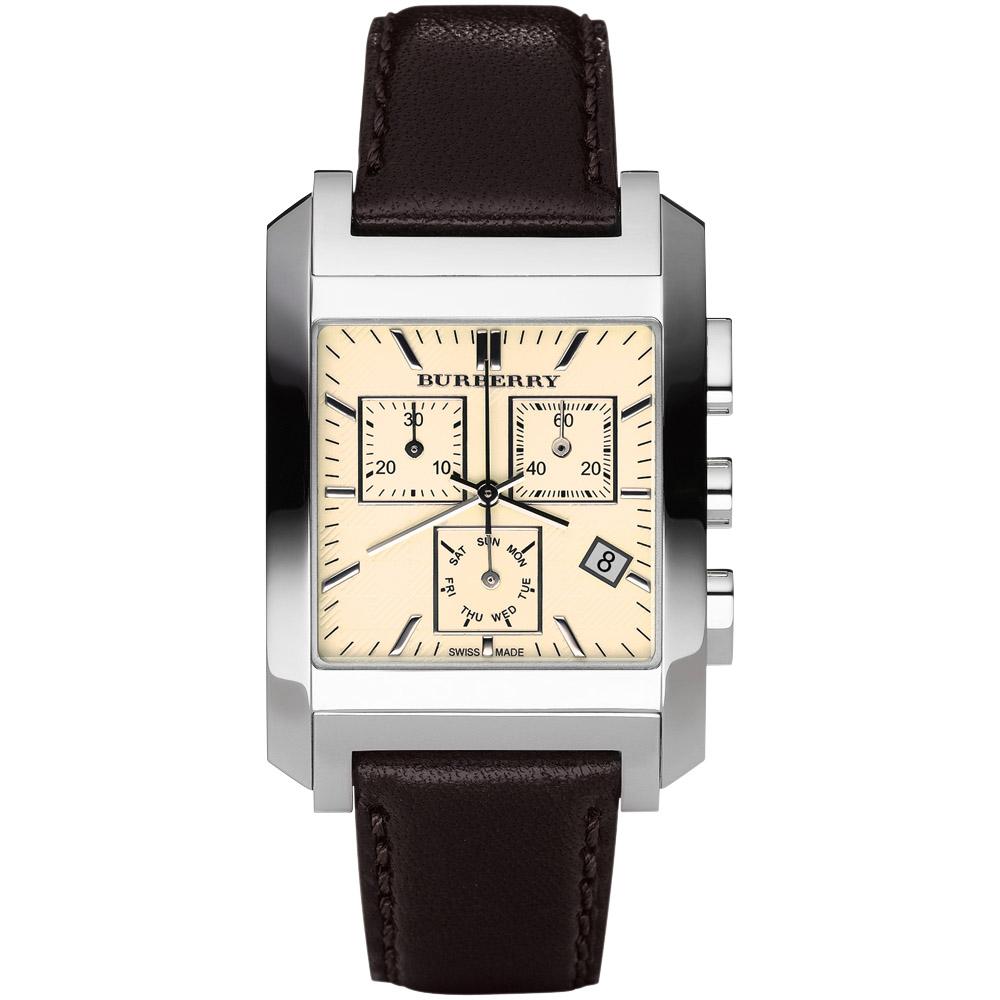BURBERRY英倫格紋計時腕錶-米黃色