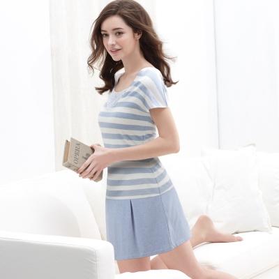 黛安芬-有機棉Bra-Top-短袖長洋裝款-M-EEL-條紋淺藍