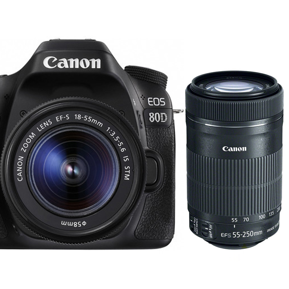 CANON EOS 80D+18-55mm+55-250mm IS STM雙鏡組*(平輸)