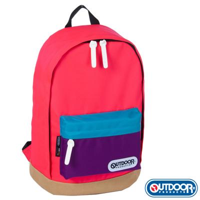 OUTDOOR-創意拼貼系列 亮粉-皮底後背包-OD55753PG