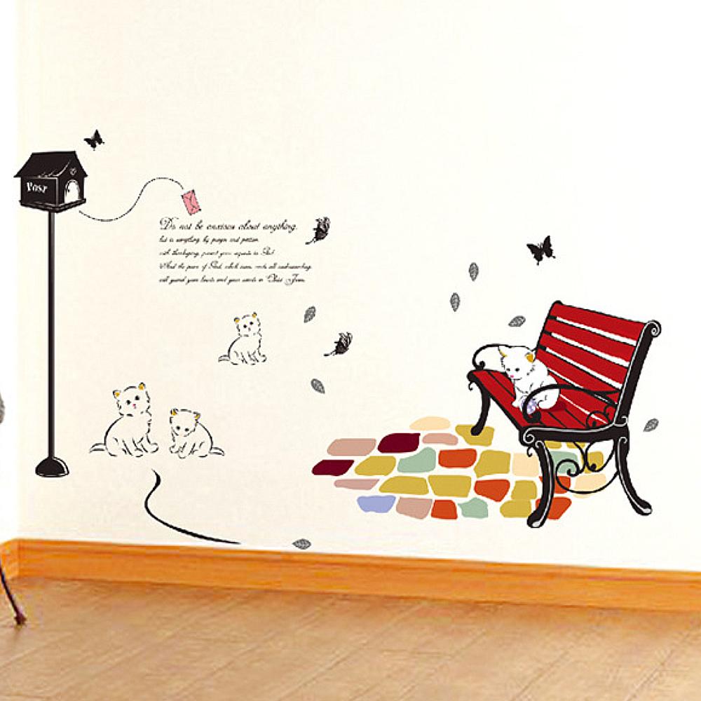 A-126手繪動物系列--貓咪郵箱 大尺寸高級創意壁貼 / 牆貼