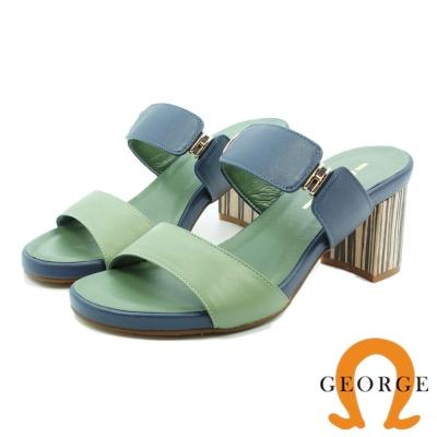 GEORGE 喬治-全真皮質感飾釦木紋粗跟涼鞋(女)-藍灰色