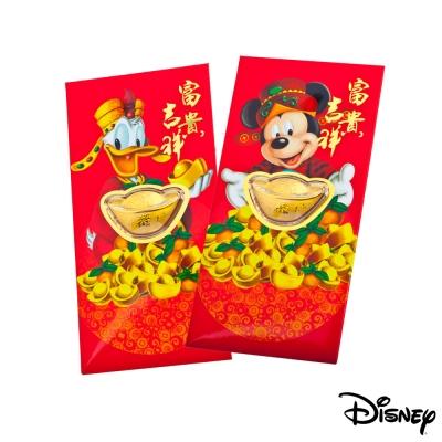 Disney迪士尼系列金飾-黃金元寶紅包袋-富貴米奇+招財唐老鴨款