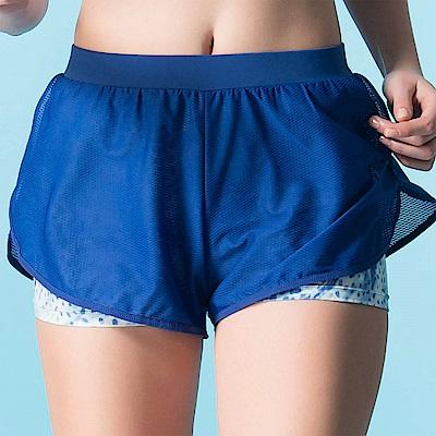 華歌爾-專業運動  M-LL 短褲(藍)吸濕快乾-假兩件式設計