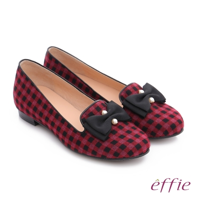 effie 都會舒適 全真皮豔彩格紋拼接珍珠蝴蝶低跟鞋  紫紅色