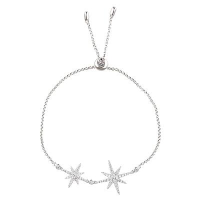 apm MONACO METEORITES系列晶鑽鑲飾雙流星設計純銀手鍊(銀)