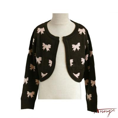 蝴蝶結塗鴉無扣造型針織外套*0277咖啡