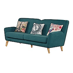 品家居 比其爾棉麻布實木沙發三人座-207x80x90cm-免組