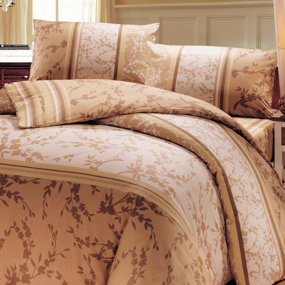 鴻宇HongYew 300織精梳棉-聖羅倫斯 咖-雙人七件式兩用被床罩組