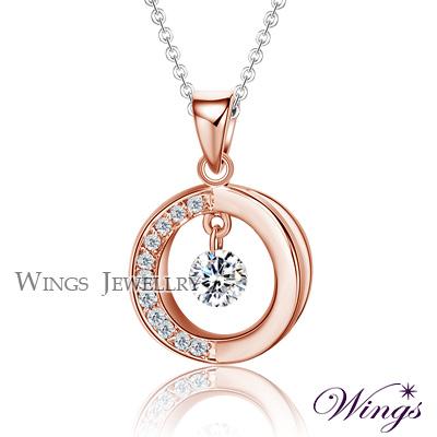 Wings 流轉時光 燦動方晶鋯石精鍍玫瑰金項鍊