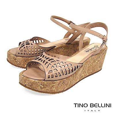 Tino Bellini巴西進口幾何鏤空繫帶楔形涼鞋_ 膚