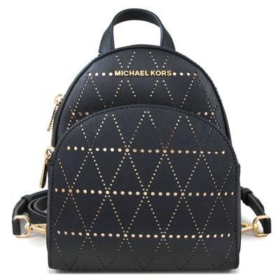 MICHAEL KORS ABBEY 金字Logo十字紋洞洞皮革三用後背包(黑金雙色-小)
