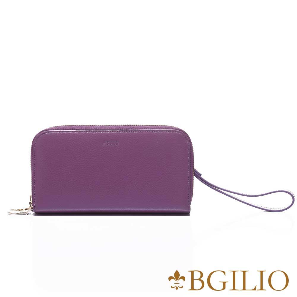 義大利BGilio 復古原味牛皮雙層拉鍊長夾(加厚版) -紫色1969.333-10