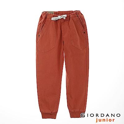 GIORDANO 童裝質感休閒時尚束口褲 - 86 窯燒磚紅