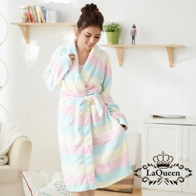 睡衣  溫暖寒冬舒適雙面水貂絨睡袍-繽紛橫條 La Queen