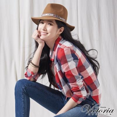 Victoria 格紋長袖襯衫-女-紅藍格