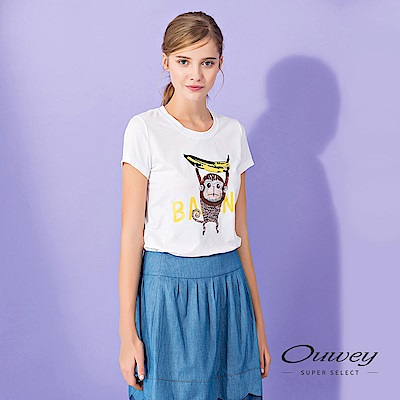 OUWEY歐薇 猴子香蕉舒適好搭棉Tee(白)