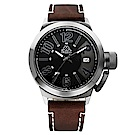 Kappa 獨特重金屬經典時尚腕錶-黑x咖啡/49mm