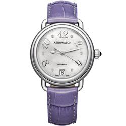 AEROWATCH 藝術珍珠貝機械腕錶-銀x紫/35mm