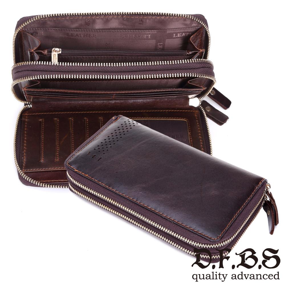 DF BAGSCHOOL皮夾 - 日系古著款牛皮皮革雙拉鍊長夾手拿包