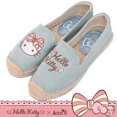 HELLO KITTY X Ann'S花園小仙子不對稱刺繡平底草編鞋-淺藍