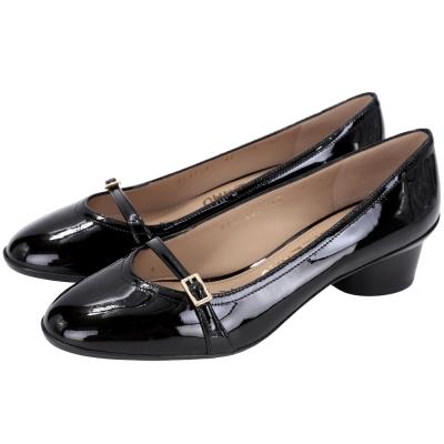 Salvatore Ferragamo AUDREY 40漆皮粗跟赫本鞋(黑色)