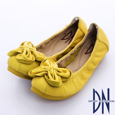DN 經典舒適 立體花朵造型牛皮彈性娃娃鞋 黃