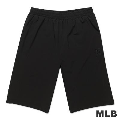MLB-紐約洋基隊素面休閒繡花短褲-黑(男)