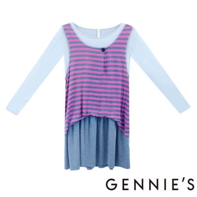 Gennies奇妮-彈性粉嫩條紋秋冬洋裝 (H1205 )-桃灰