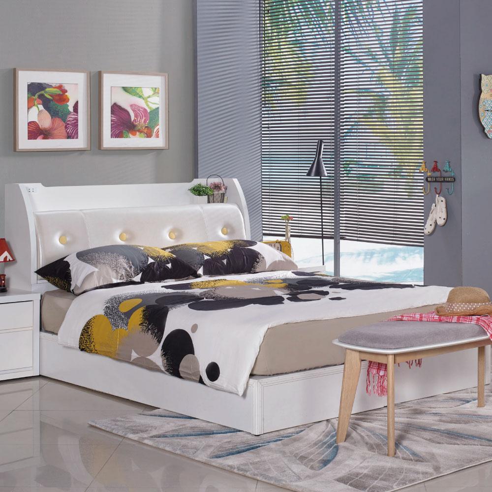 雙人床台 特里莎 5尺 品家居(床頭箱+6分床底)不含床墊