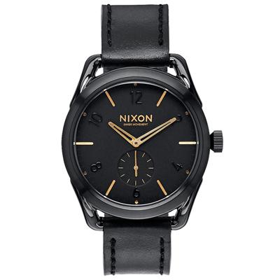 NIXON C39 LEATHER 跟隨自我潮流中性錶-金線x黑x小/39mm