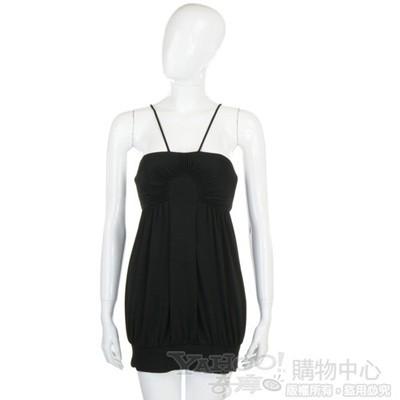 CLASS roberto cavalli 黑色百褶細肩帶短版洋裝