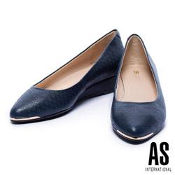低跟鞋 AS 金屬風菱格壓紋牛皮楔型低跟鞋-藍