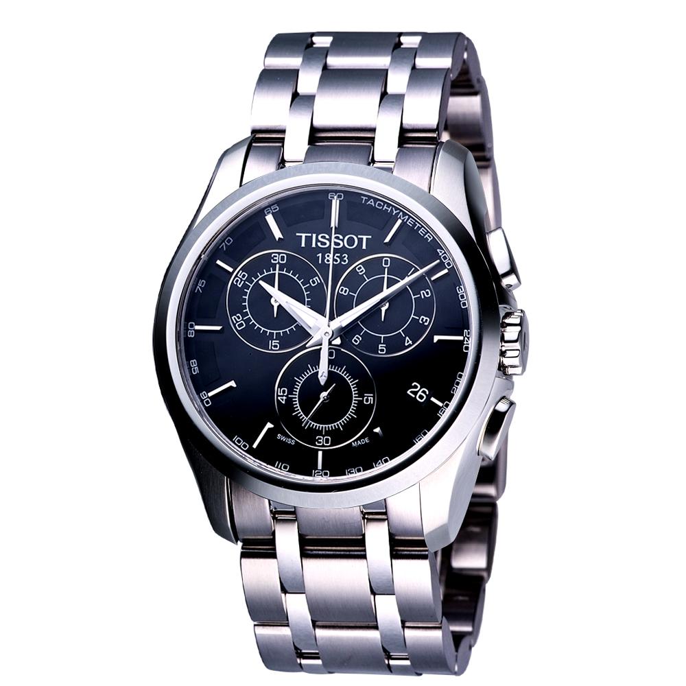 TISSOT Couturier 建構師系列計時腕錶-黑/39mm