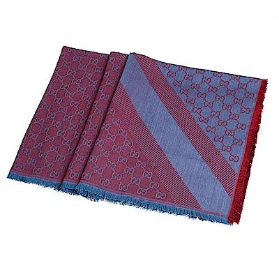 GUCCI 經典GG緹花線條羊毛混絲斜紋雙色流蘇披巾/圍巾(酒紅/藍色)