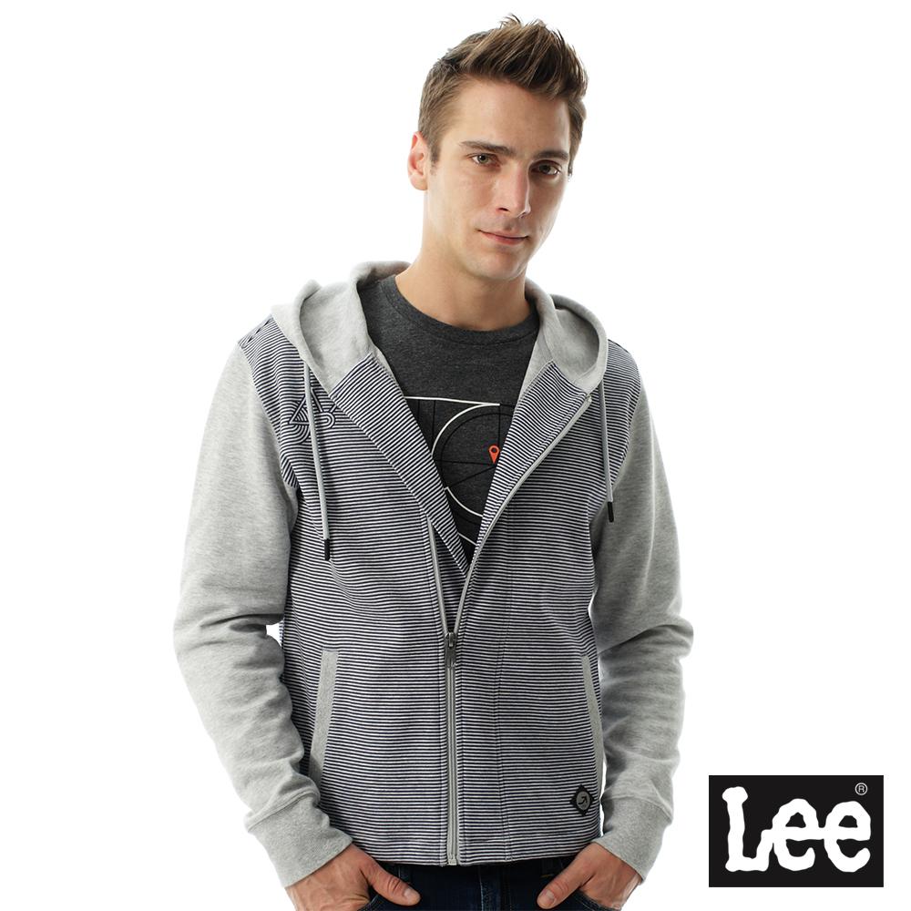 Lee 連帽開襟Regional拼接橫紋外套-男款-灰