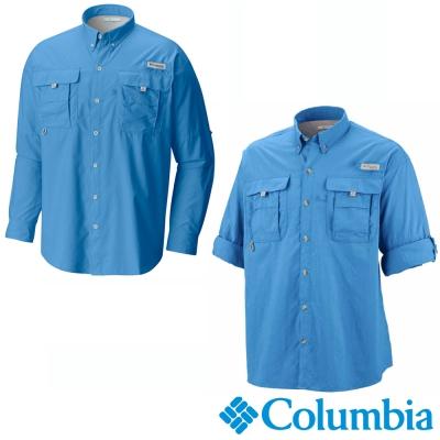 【Columbia哥倫比亞】男-Tactel防曬30襯衫-海藍 UFM70480AB
