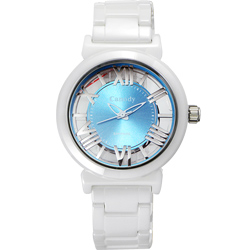 Canody 浮雕時尚 雙鏤空羅馬陶瓷腕錶-白x藍色/35mm