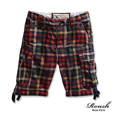ROUSH 彩色格紋雙口袋水洗短褲(2色)